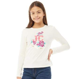 Juicy Couture Girls Floral Enchantment Long Sleeve T-Shirt Open White