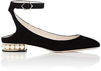 Nicholas Kirkwood Women's Lola Suede Ankle-Strap Ballet Flats - Black