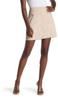 Blank NYC BLANKNYC Denim Suede Button Front Mini Skirt