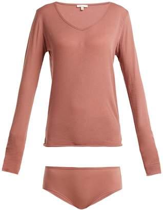 SKIN Long-sleeve top and briefs pima-cotton pyjama set
