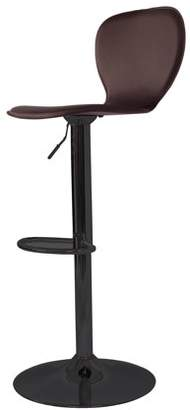Incadozo Spade Mid Century Modern High Back Upholstered Bar Stool in Black Chrome and Brown