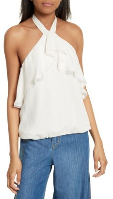 Women's Alice + Olivia Monet Ruffled Silk Halter Top $225 thestylecure.com
