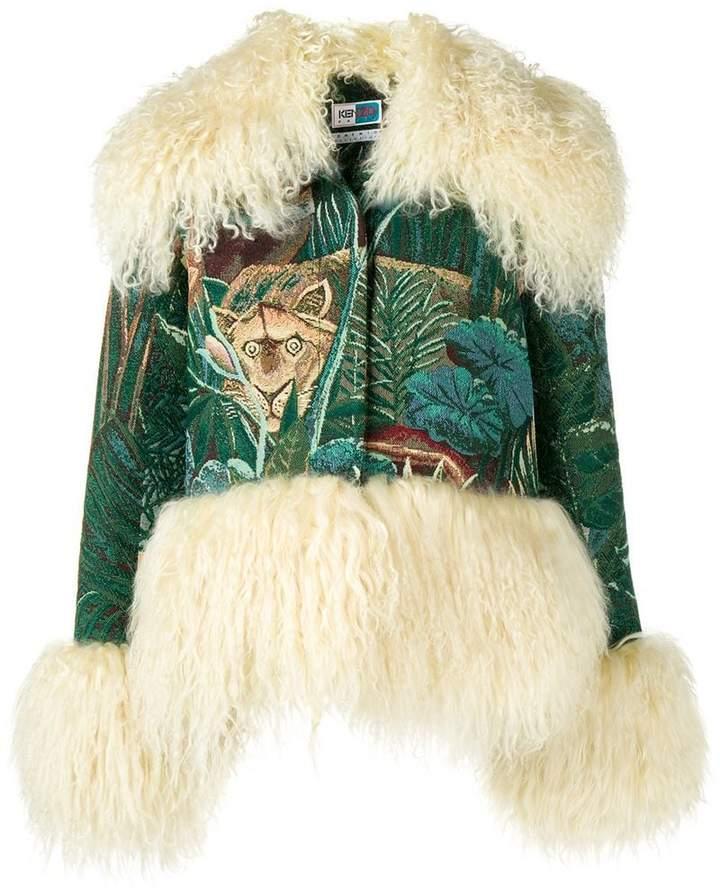 fur trim embroidered jacket