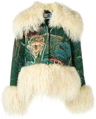 Kenzo fur trim embroidered jacket