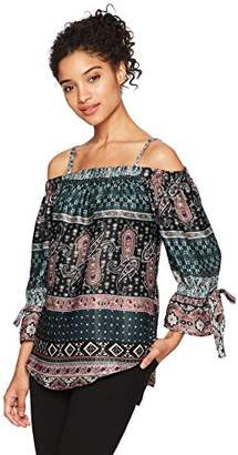 Amy Byer A. Byer Junior's Long Sleeve Printed Off Shoulder Top (Junior's)
