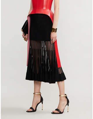 Alexander McQueen Semi-sheer mesh and knitted midi skirt