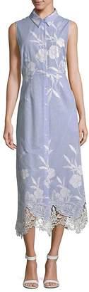 T Tahari Women's Millie Lace-Hem Shirt Dress