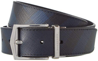 Burberry Reversible London Check & Leather Belt