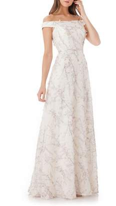 Carmen Marc Valvo 3D Embroidery Off the Shoulder Gown