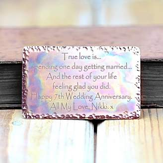 Morgan & French 7th Wedding Anniversary Copper Wallet Insert