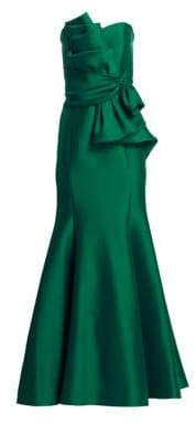 Badgley Mischka Women's Strapless Bow Front Gown - Emerald - Size 12