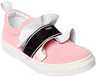 Fendi Ruffled Neoprene Slip-On Sneakers