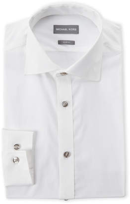 Michael Kors White Solid Slim Fit Dress Shirt