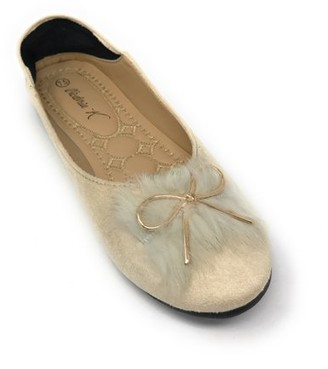 Victoria K Women's Foldover Sueded Faux Fur Gold Bow Ballerina Flats
