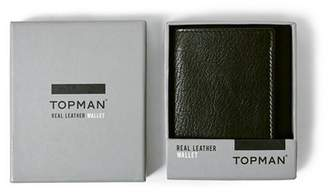 Topman Mens Black Textured Leather Trifold Wallet