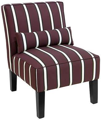 One Kings Lane Bergman Armless Accent Chair - Maroon Stripe Linen