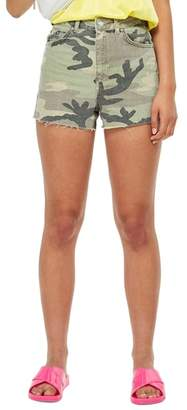 Topshop Camo Denim Mom Shorts