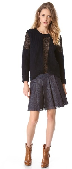 Thakoon Laser Cut Leather Pleated Skirt