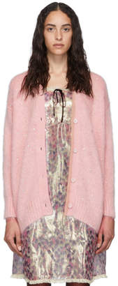 Miu Miu Pink Mohair Oversized Diamond Cardigan