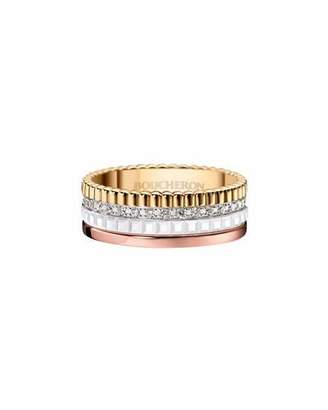 Boucheron Quatre Small Tricolor Gold & White Ceramic Ring with Diamonds, Size 53