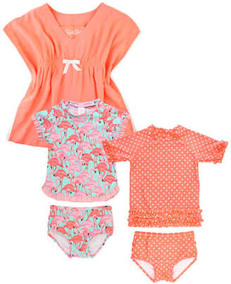 RuffleButts Polka-Dot & Flamingo 5-Piece Swim Layette Set, Size 2-10