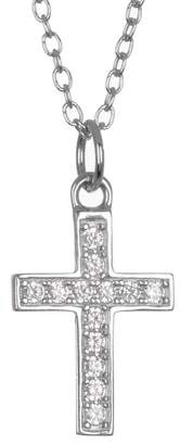 Argentovivo Sterling Silver Pave CZ Cross Pendant Necklace
