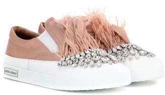 Miu Miu Crystal embellished satin slip-on sneakers