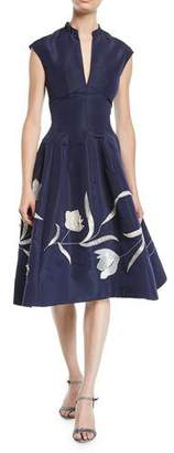 Oscar de la Renta Split-Neck Cap-Sleeve Tulip-Embroidered Silk Faille Dress w/ Pockets