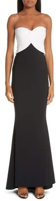 Chiara Boni Strapless Colorblock Evening Dress