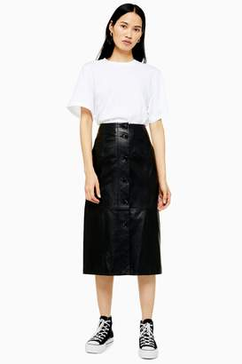 Topshop Womens **Leather Button Skirt By Boutique - Black