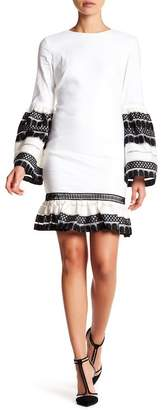Nicole Miller Crew Neck Embroidered Bell Sleeve Dress