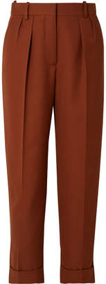Victoria Beckham Cropped Pleated Grain De Poudre Wool Tapered Pants - Brick