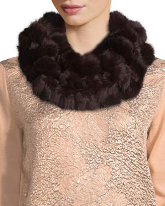 Adrienne Landau Rabbit Fur Pompom Neck Warmer, Wine