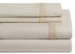 Distinctly Home Crochet Hem Four-Piece Flannel Sheet Set