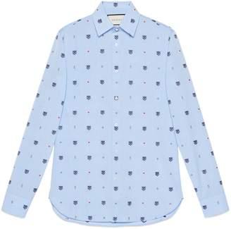 Gucci Feline head and symbols fil coupé shirt