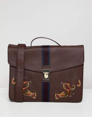 Dragon Optical ASOS DESIGN satchel in faux leather in burgundy with internal laptop pouch and embroidery