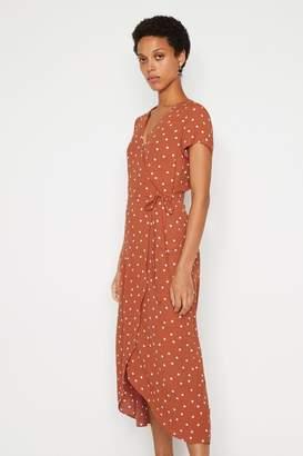 Warehouse Womens Tan Polka Dot Midi Wrap Dress - Brown