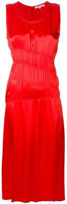 Helmut Lang gathered satin midi dress