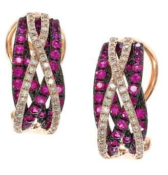 Effy Women's Ruby, Diamond and 14K Rose Gold Earrings