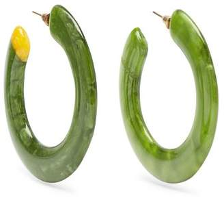 Cult Gaia Mira Marbled Acetate Hoop Earrings - Womens - Green