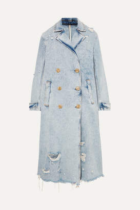 Alexander Wang Distressed Denim Trench Coat - Light denim
