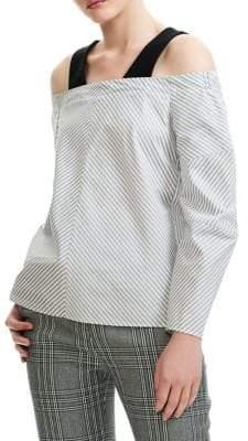 Maje Larma Striped Long Sleeve Shirt