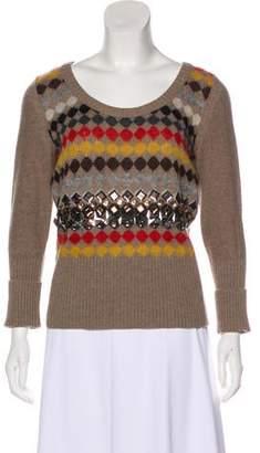 Sonia Rykiel Argyle Long Sleeve Sweater