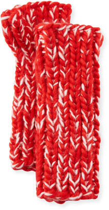 San Diego Hat Company Chunky Marled Knit Fingerless Gloves, Red