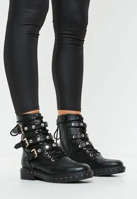 Missguided Black Triple Strap Mid Embellish Hiker Boots