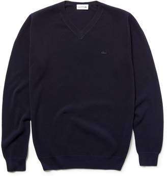 Lacoste Men's V-neck Cotton Pique Sweater