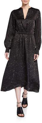 Vince Constellation-Print Satin V-Neck Long-Sleeve Dress