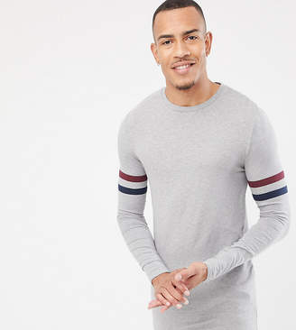 Asos DESIGN Tall muscle fit longline long sleeve t-shirt with contrast sleeve stripe in gray marl