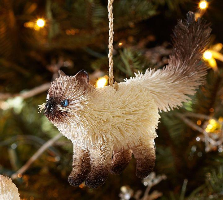 Pottery Barn Bottlebrush Cat Ornament