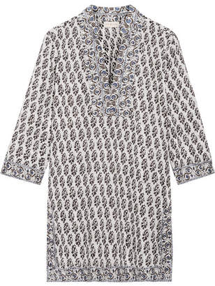 Tory Burch - Scultura Printed Cotton-voile Tunic - Navy $280 thestylecure.com